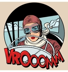 Retro aviator woman on the plane vector