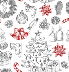 Seamless christmas pattern in sketch style vector