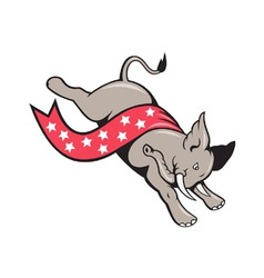 Elephant jumping democrat mascot vector