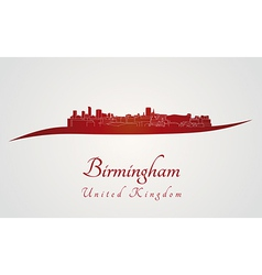 Birmingham skyline in red vector