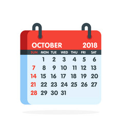 Calendar for 2018 year full month of october icon vector