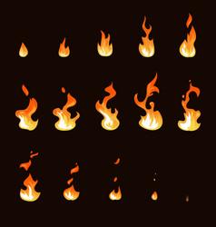 cartoon fire flame sheet sprite animation vector image