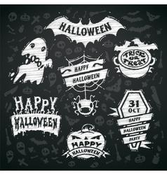 Chalk halloween labels on blackboard background vector