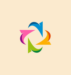 circle arrow colored business logo vector image