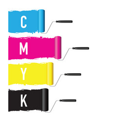 cmyk printing roller vector image vector image