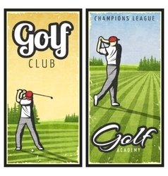 Colorful Vintage Golf Vertical Banners vector image vector image