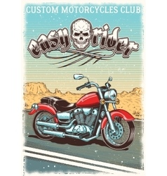 Hand-drawn vintage motorcycle on the grunge vector image