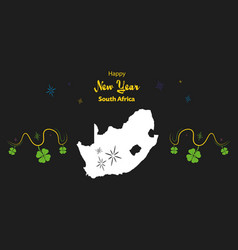 Happy new year theme with map of south africa vector
