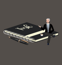 man sitting on big book of task list businessman vector image vector image
