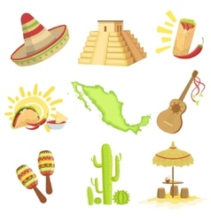 Mexican culture symbols set vector