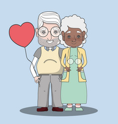 Old people couple together forever with balloon vector