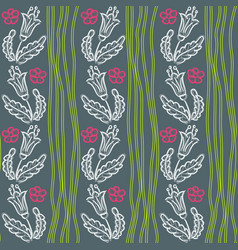 Pattern with flowers and green waves vector