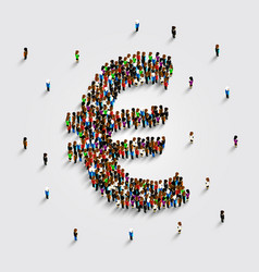 People stand in the shape of a euro money symbol vector