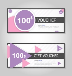 Pink and purple gift voucher template layout set vector image vector image