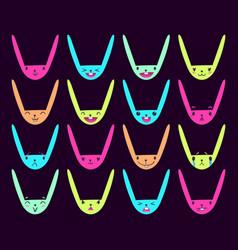 Rabbit handdrawn emoticons color 7 vector