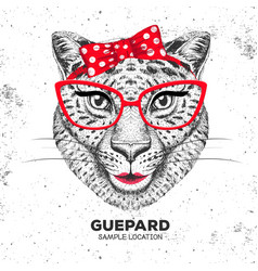 retro hipster animal guepard hand drawing muzzle vector image vector image