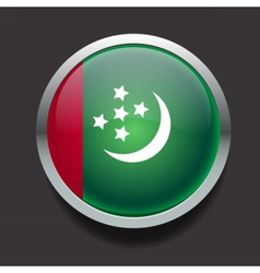 Round flag of Turkmenistan vector image vector image