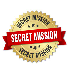 Secret mission round isolated gold badge vector
