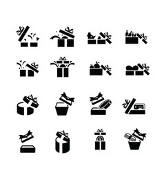 Set black gift icons open gift box vector