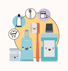teeth friends dental care elements kawaii set with vector image