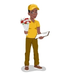 Young boy courier holding bouquet of flowers vector