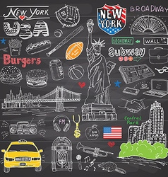 New york city doodles elements collection hand vector
