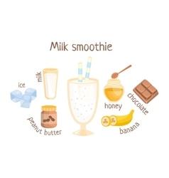 Milk smoothie infographic recipe with needed vector