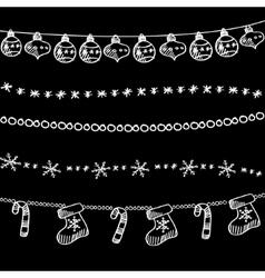 Set of christmas chalk doodle garlands dividers vector