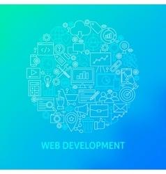 Line web development icons circle vector