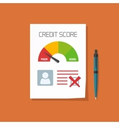 Bad credit score document with not approved stamp vector