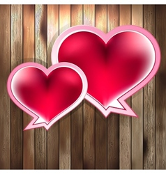 Valentines Day with heart on wood EPS 10 vector image
