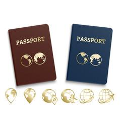 Passports international id and golden navigation vector