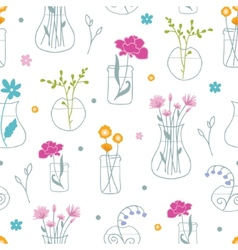 Fresh flowers in vases seamless pattern background vector