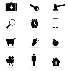 Set of icon in black vector