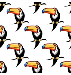 Colorful toucan bird seamless pattern vector image