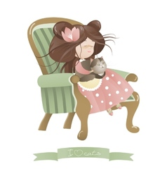 Cute girl with cat sitting in chair vector