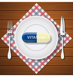 Fork with knife and vitamin capsule on white plate vector