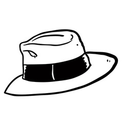 Black and white freehand drawn cartoon hat vector