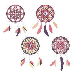 Set of freehand dreamcatchers ethnic vector