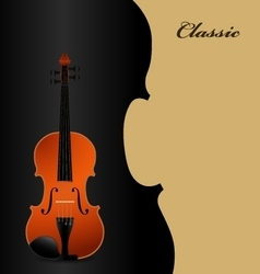 Classical acoustic violin on black vector image