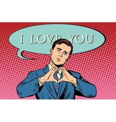 I love you gesture heart man vector