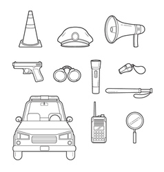 Police outline icons set vector