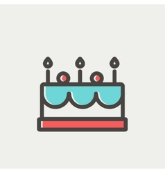 Birthday cake with candles thin line icon vector image