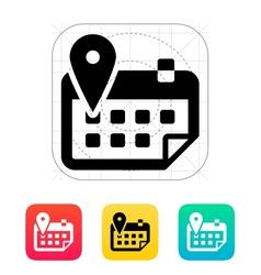 Calendar with location icon vector
