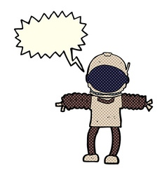 Cartoon astronaut with speech bubble vector