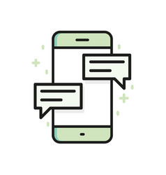 Chat on smartphone outline icon flat line vector
