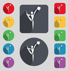 Cheerleader icon sign a set of 12 colored buttons vector