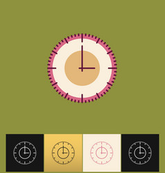 Clock icon flat pink simple vector
