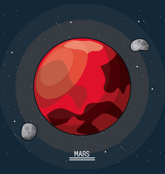 Colorful poster of the planet mars in the space vector