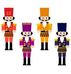 Colorful retro Nutcrackers set isolated on white vector image